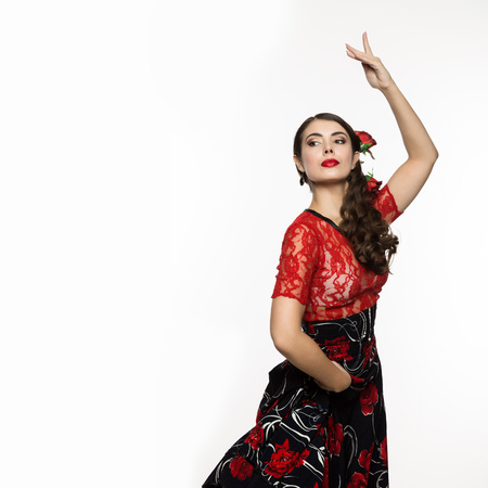 spanish girl flamenco dancer on a light background. free space for your text Reklamní fotografie