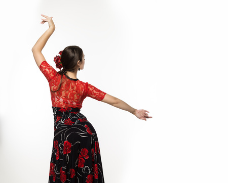 spanish girl flamenco dancer on a light background. free space for your text 版權商用圖片