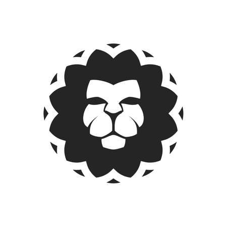 Lion in geometric rounded shape   template vector illustration 矢量图像
