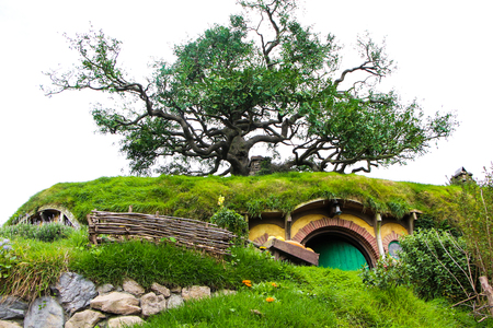 MATAMATA - New Zealand SEPTEMBER 12, 2014; Hobbit door in Hobbiton Movie set. Trademarks of Saul Zaentz Comp. and license by Ring Scenic Tours Ltd and Wingnut Films Productions Limited. Editorial use Editorial