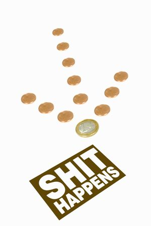 diminishing perspective: Arrow sign formed by coins, with diminishing perspective, pointing on a sign with �shit happens� text