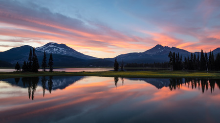 South Sister and Broken Top from Sparks Lake, Deschutes National Forest, Oregon