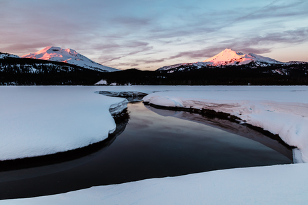 Soda Creek, South Sister, and Broken Top at Sunset in Winter
