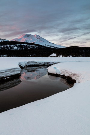 Soda Creek and South Sister with Reflection in Snow