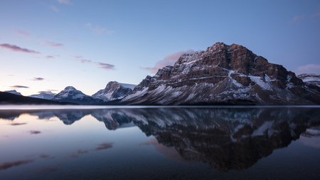 Canadian Rockies reflected in Bow Lake, Banff National Park