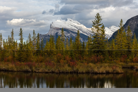 Mount Rundle from Vermillion Lakes in Banff Stock Photo