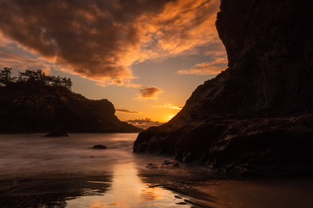 Sunset at Secret Beach, Southern Oregon Coast