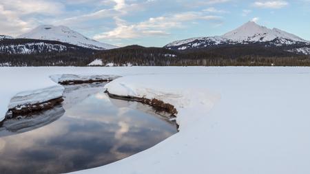 Soda Creek, South Sister, and Broken Top in Winter, Deschutes National Forest, Oregon Reklamní fotografie