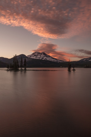 Sunset Colors over South Sister and Sparks Lake, Oregon