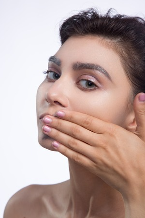 smear: pretty woman smear out black color on lips Stock Photo