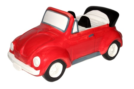 Childrens toy car, piggy bank, hand-painted baby isolated on white background. photo