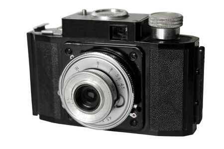 The old Soviet film camera isolated on white background. photo