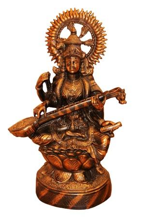 saraswati: A bronze statue of the goddess of wisdom, Saraswati.