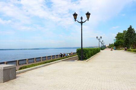 tree dweller: Embankment of the Volga River in the summer in Samara  Stock Photo