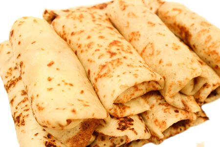 fillings: Russian pancakes with fillings wrapped in them isolated on white background Stock Photo