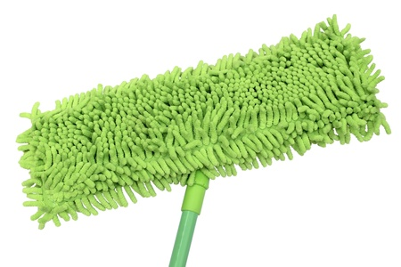 Green soft microfiber mop isolated on white background.