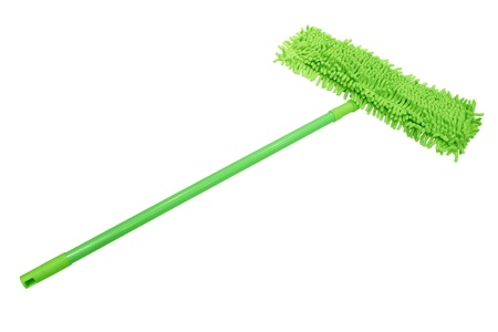 Green Microfiber mop with a plastic handle isolated on white background. photo
