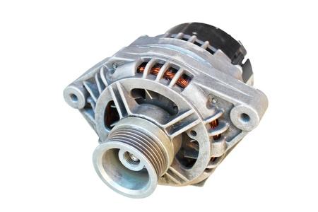 alternator: Automotive alternator isolated on a white background