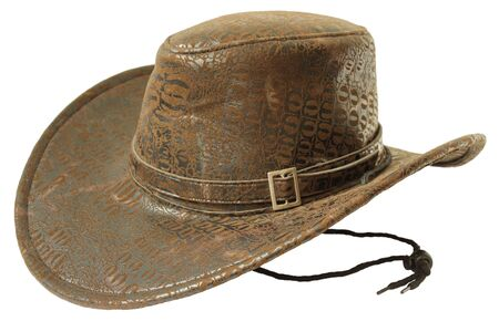 cowboy hat: Brown cowboy hat isolated on white background