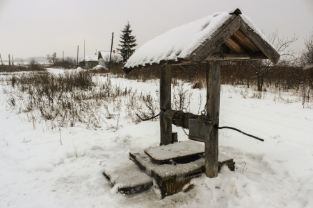 sump: Paesaggio rurale con vista sulla campagna russa innevato e ben in primo piano