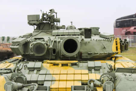 directed: Turret with directed toward the operator barreled gun