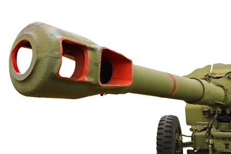 artillery shell: Artillery gun of the Second World War, isolated on a white background. Stock Photo