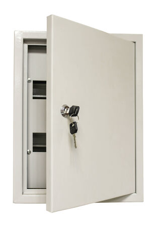 Distribution metal box with door and lock for mounting electrical equipment isolated on white  版權商用圖片
