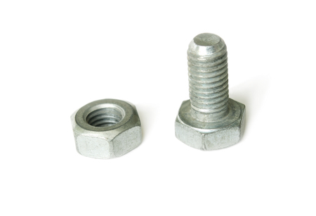 Bolt and nut isolated on a white background photo