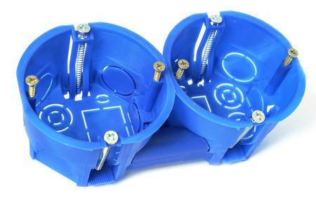 enclosures: Custodie in plastica per l'installazione di elettrodomestici in calcestruzzo e muro di gesso. Archivio Fotografico