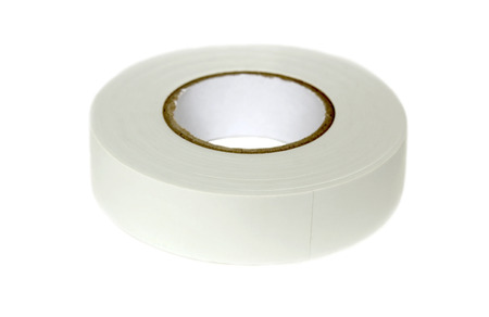 hank: Hank of white PVC insulation tape for electrical work in isolation on a white background