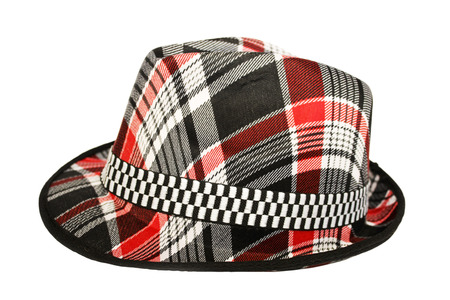 Fashionable hat in red cell isolated on white background photo