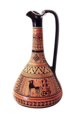 decorative urn: Ceramic jug with pattern in the ancient style Stock Photo