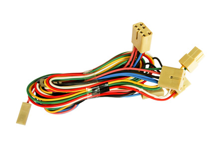 bundles: Automotive wiring bundle of wires isolated on white