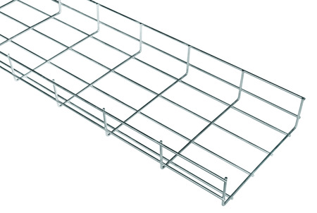 dependable: Cable tray of galvanized steel wire for cable runs in isolation on a white background