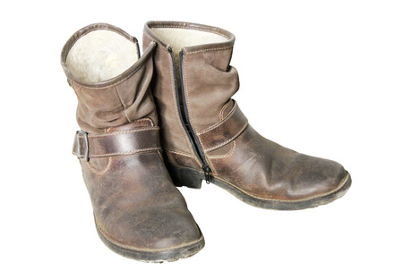 clasp feet: Stylish mens old shoes with high suede boot top