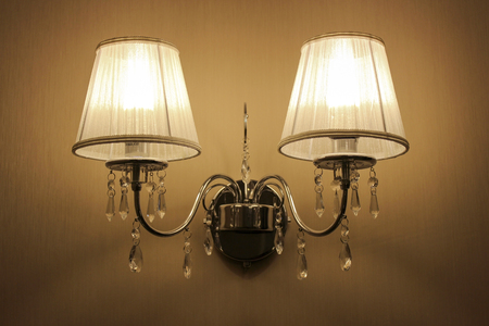 sconce: Wall sconces with two lights in a classic style
