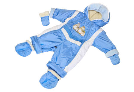 muffle: Childrens winter blue jumpsuit with a fur lining isolated on white