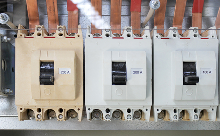 switchgear: High-voltage powerful electric breakers in the switchgear