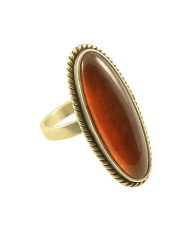 adorned: Female silver ring, adorned with amber isolated on white