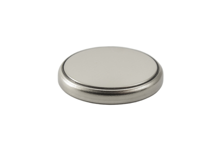 lithium: Lithium button cell battery isolated on white