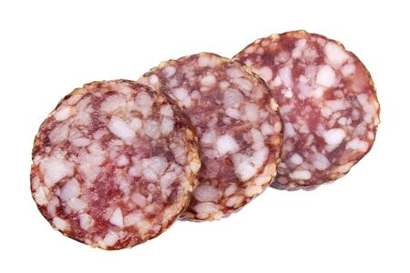 salami slices: Sliced salami slices closeup isolated on white