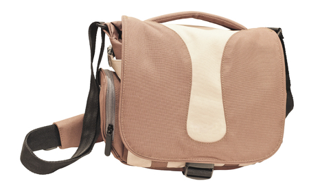 Stylish beige shoulder bag isolated on white