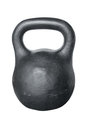 weight training: Black iron kettlebell for weight training isolated on white