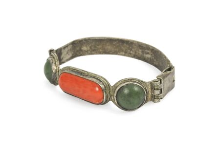 Ancient buddhist bracelet in silver and semiprecious stones