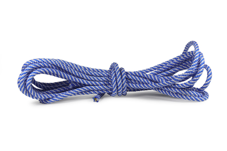 Blue nylon rope isolated on white background Stock Photo