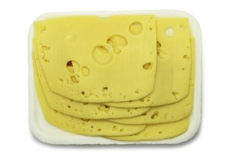 Sliced cheese in thin slices on a foamy substrate