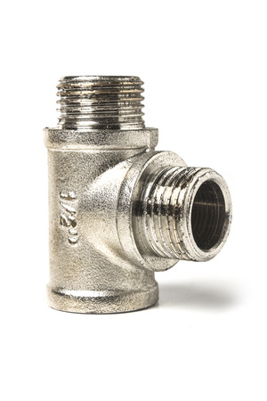 Brass chrome plated fitting for water pipe isolated on white