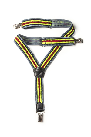 Children's rubber suspenders for trousers isolated on white Stock Photo