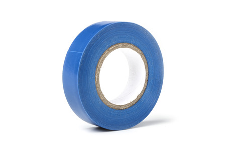 Reel of blue electrical tape isolated on white