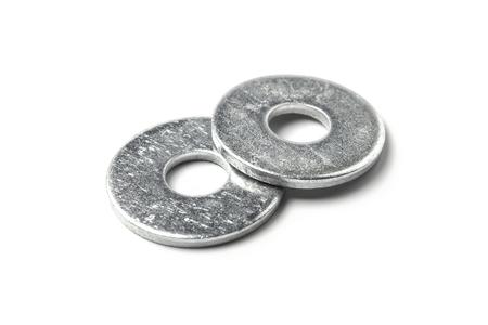 Metal washers isolated on white background Imagens